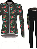 Недорогие -21Grams Цветочные ботанический Жен. Длинный рукав Велокофты и лосины - Черный / красный Велоспорт Наборы одежды Устойчивость к УФ Дышащий Влагоотводящие Виды спорта Зима Спандекс / Слабоэластичная