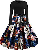 cheap -Goddess Floral Style Vintage Inspired Vacation Dress Dress Women's Jacquard Costume Black Vintage Cosplay Halloween Event / Party Long Sleeve Ankle Length A-Line