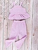 Недорогие -Дети (1-4 лет) Девочки Активный Повседневные Полоски Без рукавов Обычный Набор одежды Лиловый