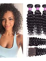 Недорогие -3 комплекта с закрытием Перуанские волосы Крупные кудри Не подвергавшиеся окрашиванию 100% Remy Hair Weave Bundles Головные уборы Человека ткет Волосы Удлинитель 8-20 дюймовый Естественный цвет