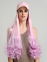 Недорогие -Парики из искусственных волос Кудрявый Естественные кудри Стиль Стрижка каскад Без шапочки-основы Парик Розовый Розовый / Фиолетовый Искусственные волосы 24 дюймовый Жен. Косплей Женский синтетический