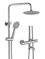 Недорогие -Высокое качество хромированная полированная ванная комната 20 см термостатический смеситель для душа с тремя методами душа с ручной головкой yc1061