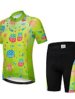 Недорогие -WEIMOSTAR Мультипликация Птица Мальчики Девочки С короткими рукавами Велокофты и велошорты - Детские Зеленый Велоспорт Наборы одежды Дышащий Влагоотводящие Быстровысыхающий Виды спорта Эластан Терилен