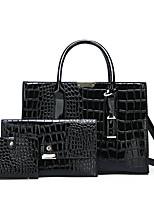 cheap -Women's Zipper PU Bag Set Solid Color 3 Pcs Purse Set Black / Brown / Red