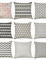 Недорогие -9 штук Лён Наволочка, Горошек и клетка геометрический Для отдыха Мода Бросить подушку