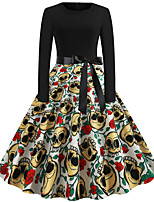 cheap -Goddess Floral Vintage Inspired Vacation Dress Dress Women's Jacquard Costume Black Vintage Cosplay Halloween Event / Party Long Sleeve Ankle Length A-Line