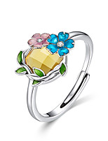 Недорогие -Хрустальная эмаль цветок регулируемый палец кольца для женщин оригинальный дизайн французский стиль стерлингового серебра 925 ювелирных изделий