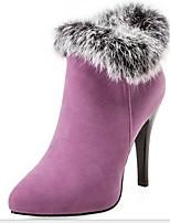 Недорогие -Жен. Ботинки На толстом каблуке Заостренный носок Замша Ботинки Зима Черный / Белый / Лиловый