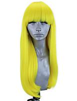 Недорогие -Синтетические кружевные передние парики Прямой Естественный прямой Стиль Свободная часть Лента спереди Парик Блондинка Желтый Искусственные волосы 18-26 дюймовый Жен. Мягкость Эластичный Женский / Да