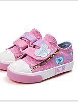Недорогие -Девочки Полотно Кеды Маленькие дети (4-7 лет) Удобная обувь Беговая обувь Черный / Красный / Синий Лето