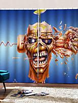 Недорогие -Индивидуальные оригинальные шторы для спальни / гостиной Happy Halloween Тема черепа и скрещенных костей Фон затемненные шторы