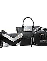 cheap -Women's Zipper PU Bag Set Solid Color 6 Pieces Purse Set Black / White / Purple / Snakeskin