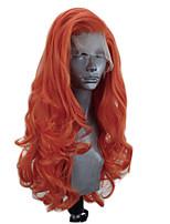 Недорогие -Синтетические кружевные передние парики Волнистый Стиль Боковая часть Лента спереди Парик Оранжевый Искусственные волосы 18-26 дюймовый Жен. Регулируется Жаропрочная Для вечеринок Темно-коричневый
