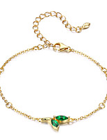Недорогие -Аутентичные стерлингового серебра 925 пробы зеленый завод бутон зеленый cz золотой цвет женщины цепи браслеты для женщин изящных ювелирных изделий свободно регулируемая длина