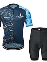 Недорогие -MUBODO Цветочные ботанический Муж. С короткими рукавами Велокофты и велошорты - Черный / синий Велоспорт Наборы одежды Дышащий Влагоотводящие Быстровысыхающий Виды спорта Тюль / Эластичная