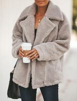 Недорогие -Жен. Повседневные Классический Обычная Пальто, Однотонный Отложной Длинный рукав Полиэстер Военно-зеленный / Бежевый / Серый