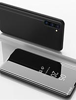 Недорогие -Кейс для Назначение SSamsung Galaxy Note 9 / Note 8 / Galaxy Note 10 со стендом / Покрытие / Зеркальная поверхность Чехол Однотонный Кожа PU / ПК