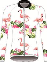 Недорогие -21Grams Фламинго Цветочные ботанический Жен. Длинный рукав Велокофты - Red and White Велоспорт Джерси Верхняя часть Устойчивость к УФ Дышащий Влагоотводящие Виды спорта Зима 100% полиэстер