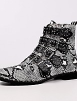 Недорогие -Жен. Ботинки На плоской подошве Круглый носок Полиуретан Сапоги до середины икры Зима Черный