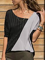 Недорогие -Жен. Пэчворк Блуза Классический Однотонный Черный
