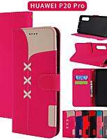Недорогие -Кейс для Назначение Huawei Huawei P20 / Huawei P20 Pro / Huawei P30 Кошелек / Бумажник для карт / со стендом Чехол Однотонный Кожа PU