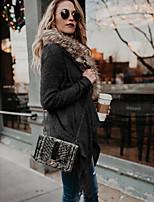 Недорогие -Жен. Повседневные Обычная Пальто, Однотонный Без воротника Длинный рукав Полиэстер Черный / Хаки