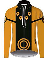 Недорогие -21Grams Наруто Муж. Длинный рукав Велокофты - Оранжевый Велоспорт Джерси Верхняя часть Устойчивость к УФ Дышащий Влагоотводящие Виды спорта 100% полиэстер Горные велосипеды Одежда / Слабоэластичная