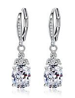 Недорогие -новый аутентичный белый&усилитель; синий кристалл антиаллергенный экологически мода медь циркон ювелирные изделия серьги