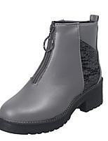 Недорогие -Жен. Ботинки На плоской подошве Круглый носок Полиуретан Наступила зима Черный / Коричневый / Серый