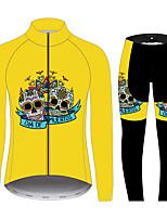 Недорогие -21Grams Сахарный череп Жен. Длинный рукав Велокофты и лосины - Черный / желтый Велоспорт Наборы одежды С защитой от ветра Устойчивость к УФ Дышащий Виды спорта 100% полиэстер Горные велосипеды Одежда
