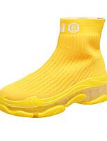 Недорогие -Жен. Ботинки Микропоры Круглый носок Tissage Volant Для прогулок Наступила зима Черный / Желтый