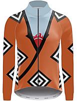 Недорогие -21Grams One Piece Муж. Длинный рукав Велокофты - Оранжевый Велоспорт Джерси Верхняя часть Устойчивость к УФ Дышащий Влагоотводящие Виды спорта 100% полиэстер Горные велосипеды Одежда