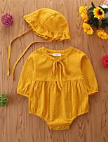 Недорогие -малыш Девочки Классический Однотонный Длинный рукав Bodysuit Золотой