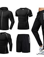 Недорогие -Муж. Спортивный костюм 5 шт. Сплошной цвет Эластан Бег Фитнес Тренировка в тренажерном зале Футболка и брюки для бега Футболка и шорты для бега Худи и брюки Спортивная одежда / Эластичная / Дышащий