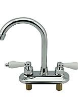 Недорогие -Ванная раковина кран - Широко распространенный Многослойное Другое Две ручки двумя отверстиямиBath Taps