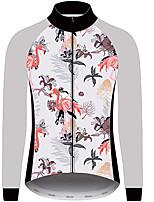 Недорогие -21Grams Фламинго Цветочные ботанический Муж. Длинный рукав Велокофты - Серый+Белый Велоспорт Джерси Верхняя часть Устойчивость к УФ Дышащий Влагоотводящие Виды спорта Зима 100% полиэстер / троеборье