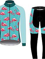 Недорогие -21Grams Фламинго Цветочные ботанический Муж. Длинный рукав Велокофты и лосины - Черный / синий Велоспорт Наборы одежды С защитой от ветра Устойчивость к УФ Дышащий Виды спорта Зима 100% полиэстер