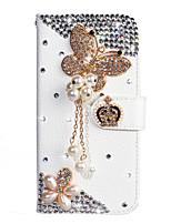 Недорогие -Кейс для Назначение SSamsung Galaxy S9 / S9 Plus / S8 Plus Кошелек / Бумажник для карт / Стразы Чехол Бабочка Кожа PU