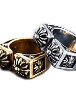 Недорогие -Муж. Кольцо Открытое кольцо 1шт Золотой Серебряный Титановая сталь Круглый Винтаж Классический Мода Повседневные Бижутерия Крест Cool