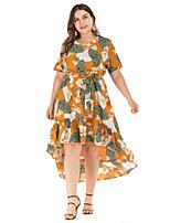 Недорогие -Жен. Оболочка Платье - Цветочный принт Ассиметричное
