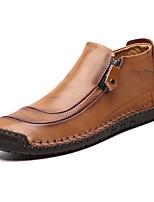 Недорогие -Муж. Fashion Boots Кожа Наступила зима На каждый день / Шинуазери (китайский стиль) Ботинки Для прогулок Нескользкий Черный / Желтый / Вино