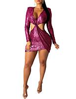 Недорогие -Жен. Классический Элегантный стиль Облегающий силуэт Оболочка Платье - Однотонный Геометрический принт, С принтом Мини