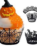Недорогие -12 шт. / Компл. Хэллоуин полый бумажный стаканчик паутина тыква ужаса торт обертывание