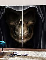Недорогие -ужас темная тема смерть череп полутеневые декоративные шторы на заказ / спальня гостиная / бар 3D HD неувядающий фон занавес