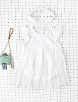 Недорогие -3 предмета малыш Девочки Активный / Уличный стиль Белый Однотонный Сетка Без рукавов Bodysuit Белый