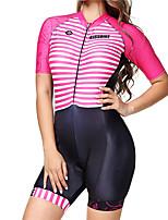 Недорогие -BOESTALK Жен. С короткими рукавами Костюм для триатлона Розовый Велоспорт Дышащий Влагоотводящие Быстровысыхающий Анатомический дизайн Задний карман Виды спорта Спандекс Горизонтальные полосы