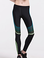 cheap -Women's Running Tights Side-Stripe Contour Sports Leggings Running Fitness Jogging Breathable Moisture Wicking Butt Lift Color Block White Yellow Green Blue Gray / Micro-elastic / Skinny