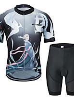 Недорогие -MUBODO Феникс Муж. С короткими рукавами Велокофты и велошорты - Черный / Белый Велоспорт Наборы одежды Дышащий Влагоотводящие Быстровысыхающий Виды спорта Тюль Горные велосипеды Шоссейные велосипеды