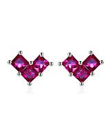 Недорогие -геометрическое сердце крошечные серьги-гвоздики для женщин девушка серьги в корейском стиле cz stone ювелирные изделия из стерлингового серебра 925 пробы