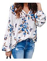 Недорогие -Жен. Блуза Цветочный принт Синий
